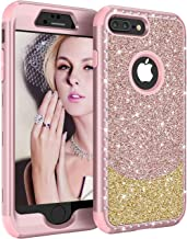 iPhone 8 Plus Case, iPhone 7 Plus Case,UZER Three Layer Shockproof 3D Handmade Luxury Beauty Crystal Rhinestone Glitter Sparkle Bling Diamond Hard PC Soft Silicone Case for iPhone 8 Plus/7 Plus 5.5