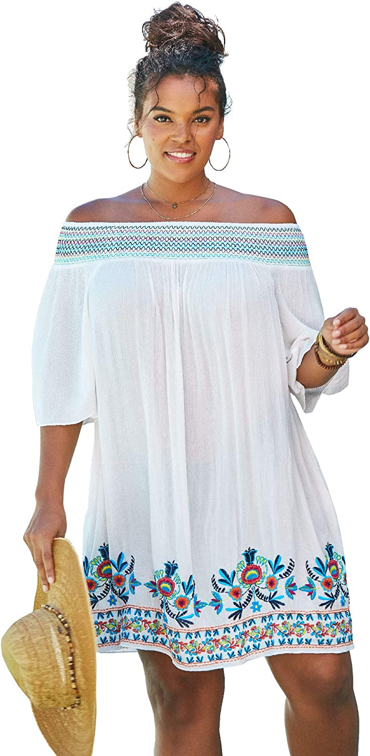 Swimsuits For All Women's Plus Size Off-The-Shoulder Cover Up Swimsuit Cover Up