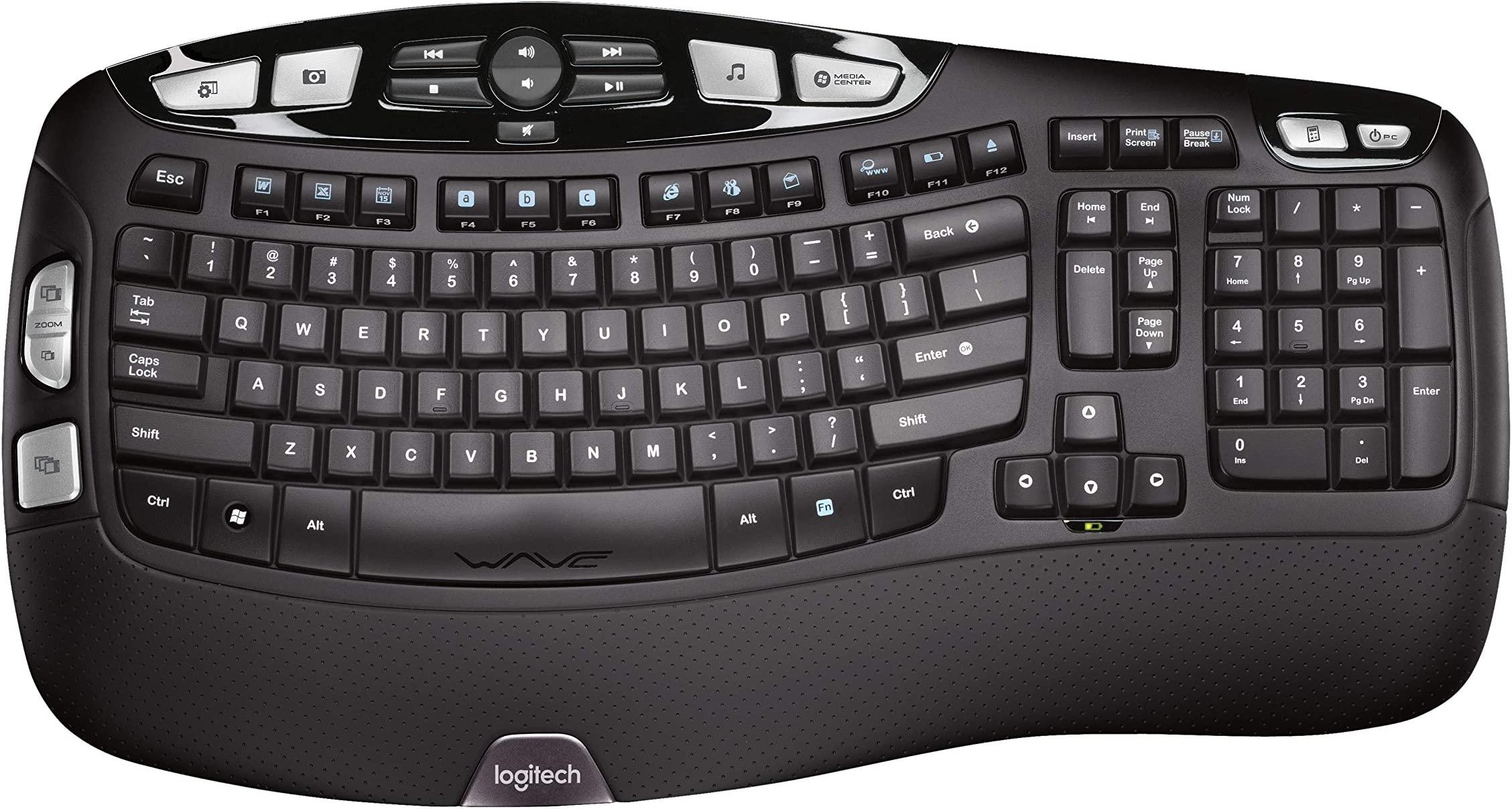 Logitech K350 Wireless Wave Keyboard with Unifying Wireless Technology - Black