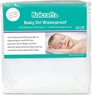 """Kolcraft Baby Dri Waterproof Fitted Toddler & Baby Crib Mattress Pad Cover/Protector, White, 52"""" x 28"""""""