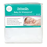Kolcraft Baby Dri Waterproof Fitted Toddler & Baby Crib Mattress Pad Cover/Protector, White, 52  x 28