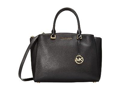 MICHAEL Michael Kors Maxine Medium Satchel (Black) Satchel Handbags