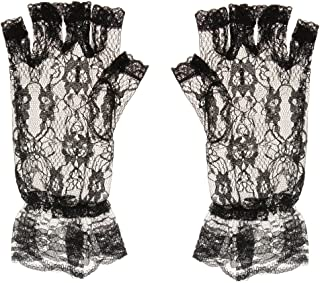 Baosity Ladies Victorian Lace Floral Gloves Fingerless Wrist Length Accessories