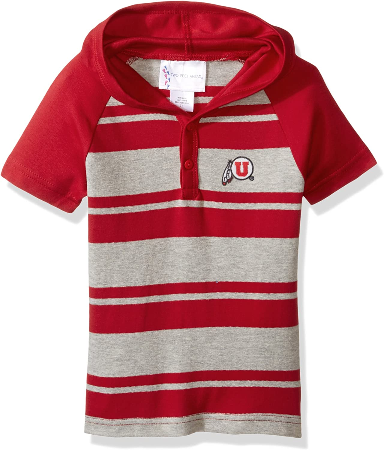 Two Feet Ahead NCAA Utah Utes Toddler Boys Rugby Short Sleeve Hooded Shirt, Size 3, Red Heather