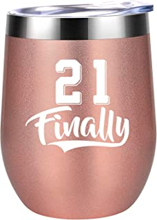 21 Finally - Funny 21st Birthday Gifts for Her, Girls, Daughters, Friends - Turning 21 Year Old Birthday Gift - Coolife 12 oz Stainless Steel Insulated Stemless Wine Tumbler Cup with Lid and Straw