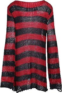 U/A Halloween Gotico Maglia Maglione Delle Donne Lunghe Pullover A Strisce Sciolto Inverno Strappato Plus Size Maglioni Ma...