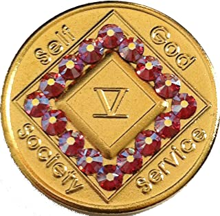 NA Girly Girl 5 Year Gold Plated Coin with Pink Swarovski Crystals Narcotics Anonymous Medallion- AA Sobriety Chip(5 Years Shown)