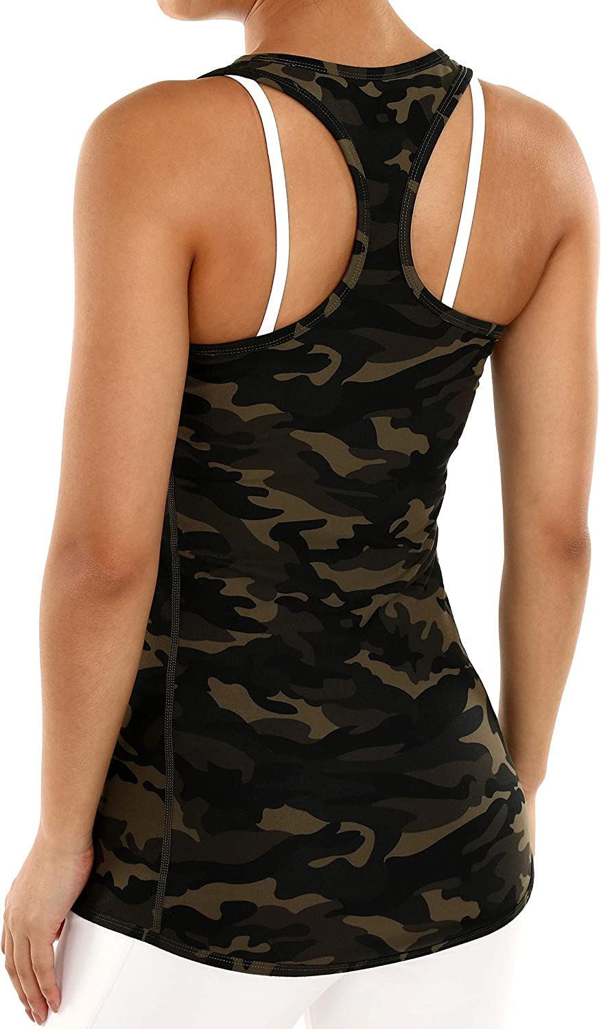 ODODOS Workout Tank Tops for Women Exercise Gym Yoga Shirts Strappy Athletic Tanks with Side Pocket