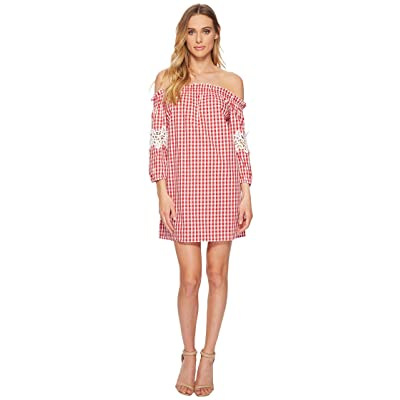 ROMEO & JULIET COUTURE Gingham Off the Shoulder Lace Dress (Red/White) Women