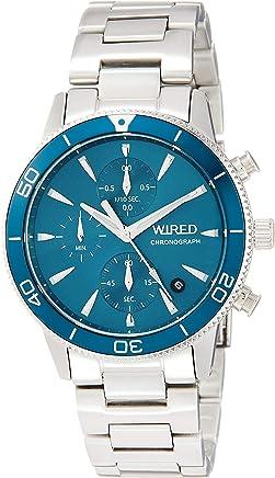 [ワイアード]WIRED 腕時計 WIRED クロノグラフ付き ブルーグリーン文字盤 10気圧防水 カーブハードレックス AGAT429 メンズ