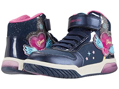 Geox Kids Inek 3 (Little Kid) (Navy/Fuchsia) Girl