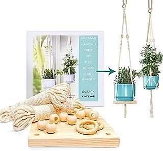MyBohoCottage Macrame Kits for Adults Beginners -Macromay Kit -Makes 2 Plant Hangers - Macrame Hanging Shelf Kit - PRE-Cut...