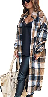 Women's Casual Plaid Lapel Woolen Button Up Pocketed Long...