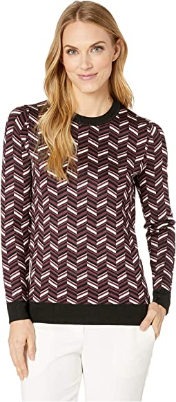 Chevron Jacquard Long Sleeve Sweater