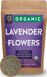 Organic Lavender Flowers Dried | Perfect for Tea, Baking, Lemonade, DIY Beauty, Sachets & Fresh Fragrance | 100% Raw From France | Large 4oz Resealable Kraft Bag | by Feel Good Organics