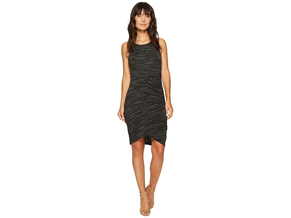 Mod-o-doc Space Dye Rayon Spandex Jersey Asymmetrical Shirred Tank Dress (Black Heather) Women