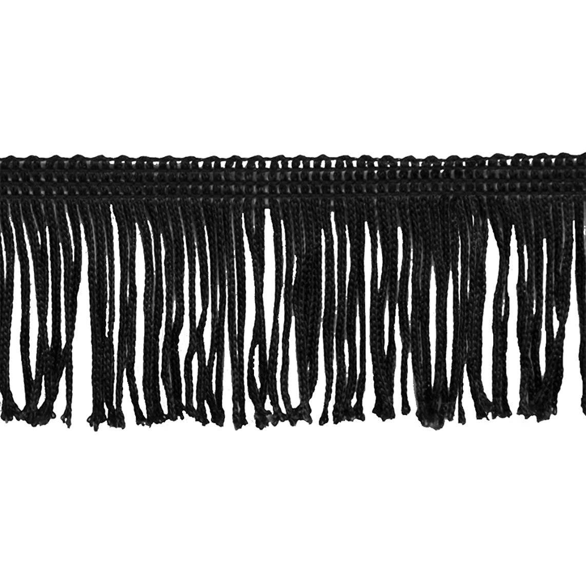Chainette Fringe 10-Yard Polyester Fringe Rolls for Arts and Crafts, 2-Inch Long, Black