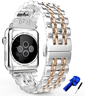 HUANLONG Compatible with Apple Watch Band, Solid Stainless Steel Metal Replacement Watchband Bracelet with Compatible with iWatch Series 1/2/3/4 (LS 42mm Silver/Rosegold)