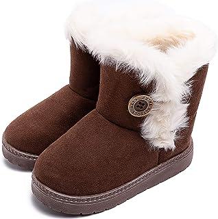 أحذية ثلج للأولاد والبنات من eccbox أحذية شتوية دافئة من الفرو الصناعي أحذية بزر خارجي للأطفال الصغار