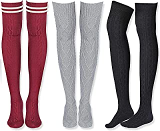 SATINIOR 3 Pairs Knit Long Boot Socks Women Cable Knit Thigh High Socks Extra Long Winter Stockings Leg Warmers, Colorful,...