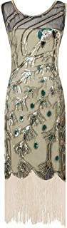 YENMILL 1920s Art Deco Glitter Vintage Peacock Sequin Fringed Party Flapper Tassels Plus Dress
