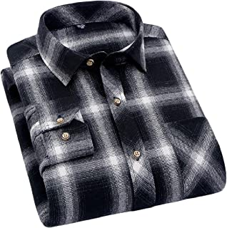 DressU Men's Long Sleeve Flannel Casual Plaid Checkerboard Printing Classic Longshirt