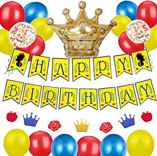 KARAQY Princess Snow White Birthday Banner Glitter Garland Blanca Nieves Felt Party Supplies Kit Crown Balloon Set Backdro...