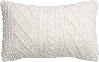 DOKOT 100% Cotton Knitted Decorative Cable Braid and Diamond Knitting Square Warm Throw Pillow Cover/Cushion Cover 12 x 20 Inch / 30 x 50 cm