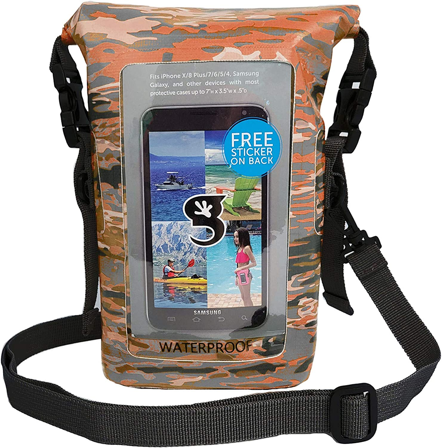 geckobrands Waterproof Phone Tote - Outdoor Phone Pouch & Dry Bag – Fits Most iPhone and Samsung Galaxy Models, Available in 10 Colors (Ember geckoflage)
