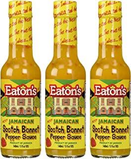 Eaton's Jamaican Scotch Bonnet Pepper Sauce 5 Ounce (Pack of 3) Used for Flavoring Dishes and Condiment