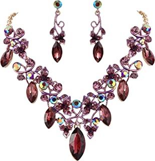 Women's Costume Fashion Crystal Floral Vine Leaf Statement Necklace Dangle Earrings Set