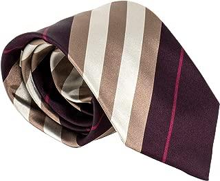 Burberry London Mens Necktie Classic Diagonal Stripe Pattern Wide Cut Silk Tie