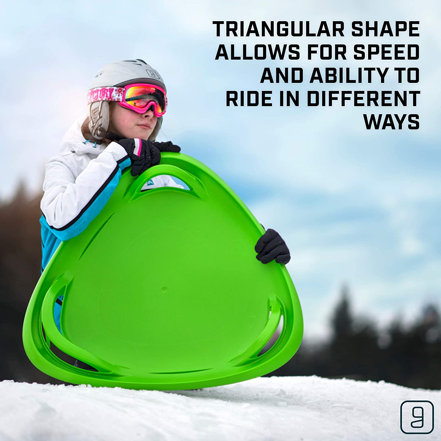 Multi-Purpose Sit or Kneel Disc Sled Saucer with Raised Safety Handles for Maximum Steering Control Sledding Disc for Kids Ages 3 and Up Gizmo Riders Meteor Saucer Sled for Kids
