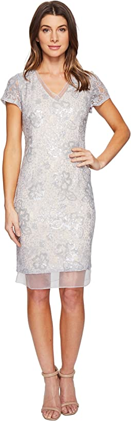 Sequin Lace Organza Sheath Dress