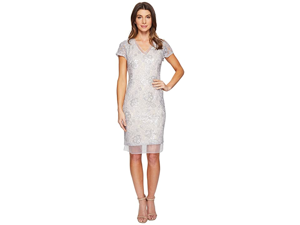 Adrianna Papell Sequin Lace Organza Sheath Dress (Silver/Nude) Women