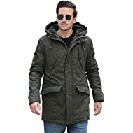 YsCube Men's Winter Parka Olive Jackets Outerwear Coat Water Resistent Coat Outdoor Practical...