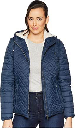 Detachable Sleeve Puffer with Faux Fur