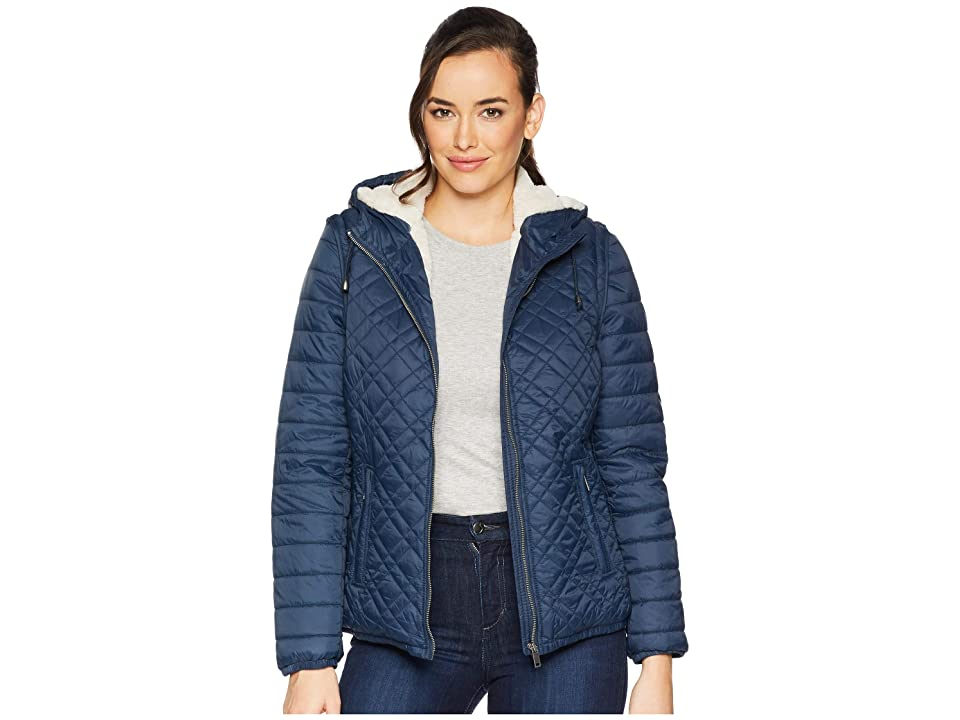 Tribal Detachable Sleeve Puffer with Faux Fur (Navy) Women