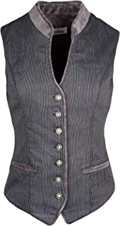 Almsach Trachtenmieder Damen schwarz | Mieder MA 173 Streifen schwarz grau | gestreift | Damen Trachten | hochgeschlossen V-Ausschnitt Knöpfe