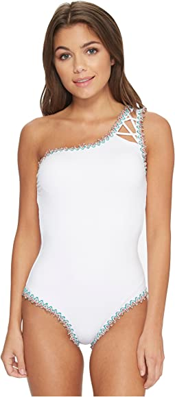 Mardi Gra Asymmetrical One-Piece