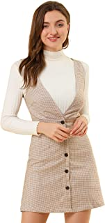 Allegra K Women's Valentine's Day Overalls Suspenders Plaid Houndstooth Pinafore Dress