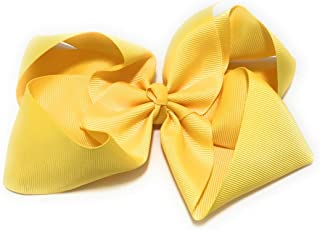 6 inch Large Plain Solid Chunky Hair Bow Clip (Daffodil Yellow)