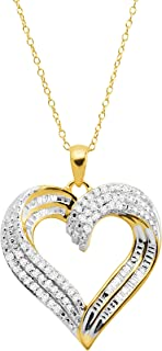 1/2 ct Diamond Swirled Heart Pendant Necklace in Sterling Silver, 18