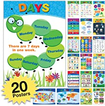 20 Educational Posters For Kids Toddlers (24x17 Double Sided English and Spanish) Includes: Alphabet Colors Letters Numbers Shapes Months Days Weather Time Animals Solar System Seasons Map