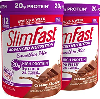 SlimFast Advanced Nutrition Creamy Chocolate Smoothie Mix – Weight Loss Meal Replacement – 20g Protein – 11.4 Oz. Canister...