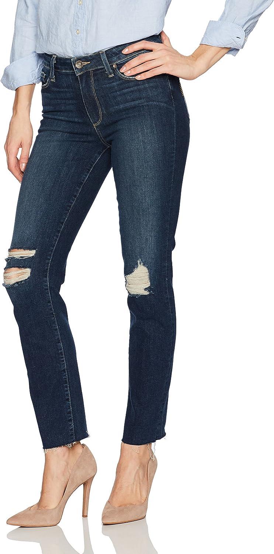 PAIGE Womens Jacqueline Straight W Raw Hem Jeans Emmett Destructed Jeans