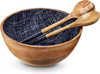 Wooden Salad Bowl or Mixing Bowls with Serving Tongs, Large Serving Bowls for Fruits, Salad, Cereal or Pasta, Large Mixing...