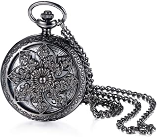 Avaner Antique Bronze Retro Hollow Rose Flowers Openwork Quartz Pocket Watch for Women Girls
