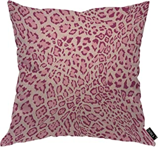 EKOBLA Pink Leopard Throw Pillow Cover Animal Skin Exotic Leather Fur Panther Camouflage Cheetah Cozy Square Cushion Case ...