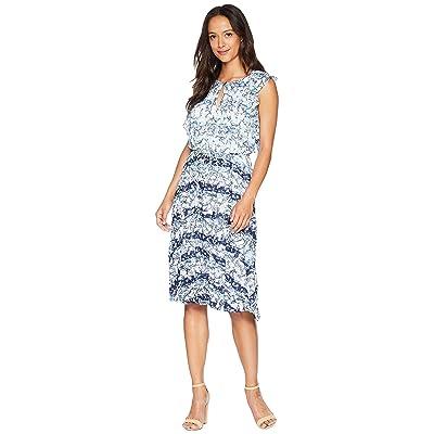 Ellen Tracy Flouncy Sleeve Dress (Horizon/White Combo) Women
